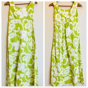 Tori Richard Honolulu Green and White Floral Maxi